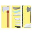 knifes cooking chef meal knives cards kitchen vector image vector image