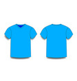light blue male t-shirt template v-neck front and vector image
