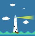 lighthouse on ocean cartoon background vector image
