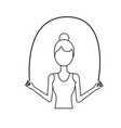 line woman jumping to do exercise vector image