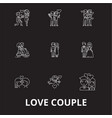 love couple editable line icons set on vector image vector image
