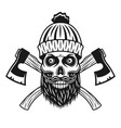 lumberjack skull in knitted hat with beard axes vector image vector image