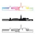 nimes skyline linear style with rainbow vector image vector image