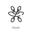 outline kayak icon isolated black simple line vector image vector image