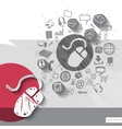 Paper and hand drawn mouse emblem with icons vector image vector image