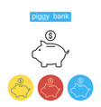 piggy bank and dollar coin icon vector image vector image