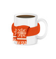realistic detailed 3d white coffee cup in red vector image