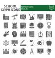 school glyph icon set education symbols vector image