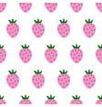 seamless pattern cartoon strawberries on white vector image