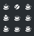 set coffee cups icons vector image
