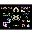 set neon light logos poker club and vector image