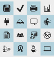 Set of 16 editable office icons includes symbols