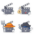 set of movie clapper character with doctor money vector image vector image