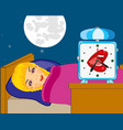 sleeping girl and watch vector image
