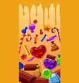 sweets cakes banner vertical cartoon style vector image
