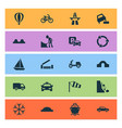 transport icons set with hump bridge cargo ship vector image vector image