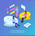 virtual communication isometric background vector image