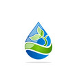 water drop green leaf logo vector image vector image