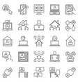 work at home line icons set - remote or freelance vector image