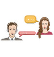 call center concept man and woman in headset icon vector image