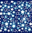 seamless pattern with shining stars on blue vector image