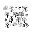 Trees collection sketch foryour design vector image