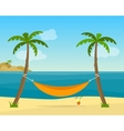 Hammock with palm trees on beach vector image