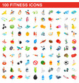100 fitness icons set isometric 3d style vector image vector image