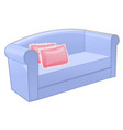 blue sofa with pink pillow isolated on white vector image vector image