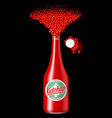 Bottle of ketchup with scattered sauce vector image