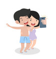 camera smiling couple taking selfie vector image