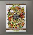 cartoon hand drawn doodles italian food poster vector image