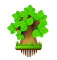 cartoon style tree icon isolated on white vector image