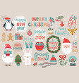 christmas set hand drawn style - calligraphy vector image