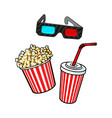 cinema objects - popcorn bucket 3d glasses and vector image vector image