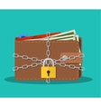 Closed brown leather wallet with dollar cash vector image vector image