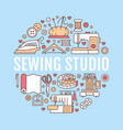 clothing repair sewing studio equipment banner vector image