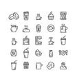 coffee shop outline icon set vector image