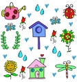 Collection of spring set doodles vector image vector image