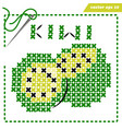 crosstiched simple kiwi with framle and needle vector image vector image