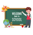 cute boy with chalkboard and school supplies vector image vector image