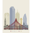 Dallas skyline poster vector image vector image
