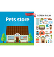 flat pets store composition vector image vector image