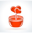 flower pot with hearts st valentines day design vector image