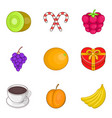 fruit supplement icons set cartoon style vector image vector image