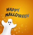 funny ghost shape with Happy Halloween message vector image vector image