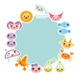 Funny Kawaii zodiac sign light blue round frame vector image vector image