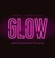 glowing linear neon typefaces alphabet vector image vector image