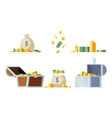 gold treasure chest with cash money coin set vector image