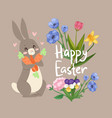 happy easter card with cute rabbit with carrot and vector image vector image